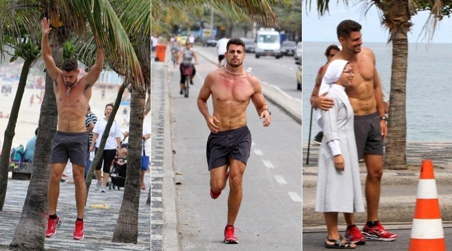 Cauã Reymond corre pela orla da praia de Ipanema, zona sul do Rio (7/5/12)