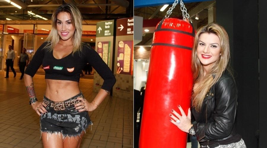 Dani Bolina e Mirella Santos prestigiam feira de eventos em São Paulo (7/5/12)