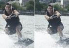 Ex-BBB Fael pratica wakeboard na Lagoa, zona sul do Rio - Reprodução/Twitter