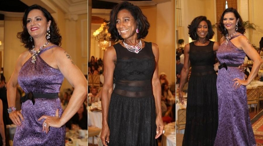 Luiza Brunet e Glória Maria desfilam para marca de joias em hotel da zona sul do Rio (7/5/12)