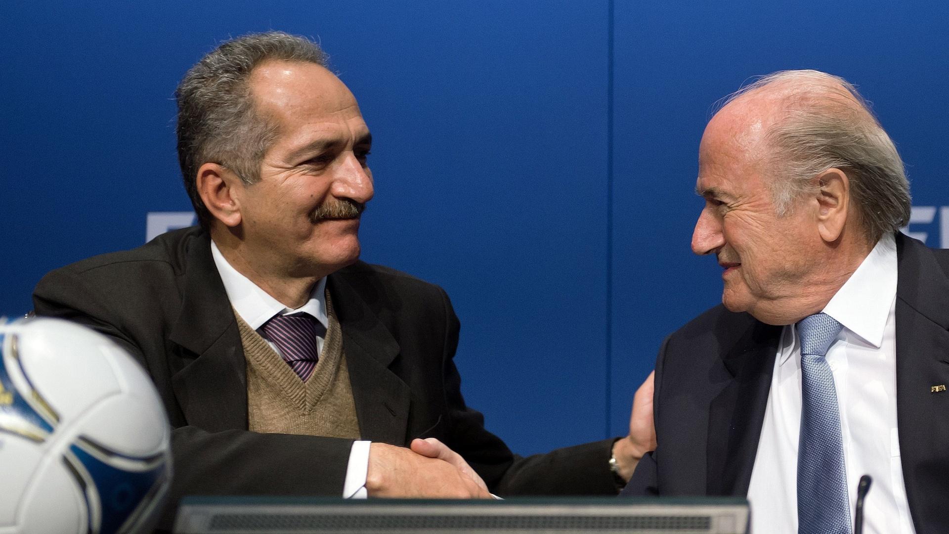Aldo Rebelo cumprimenta presidente da Fifa Joseph Blatter em reunião realizada nesta terça-feira, em Zurique