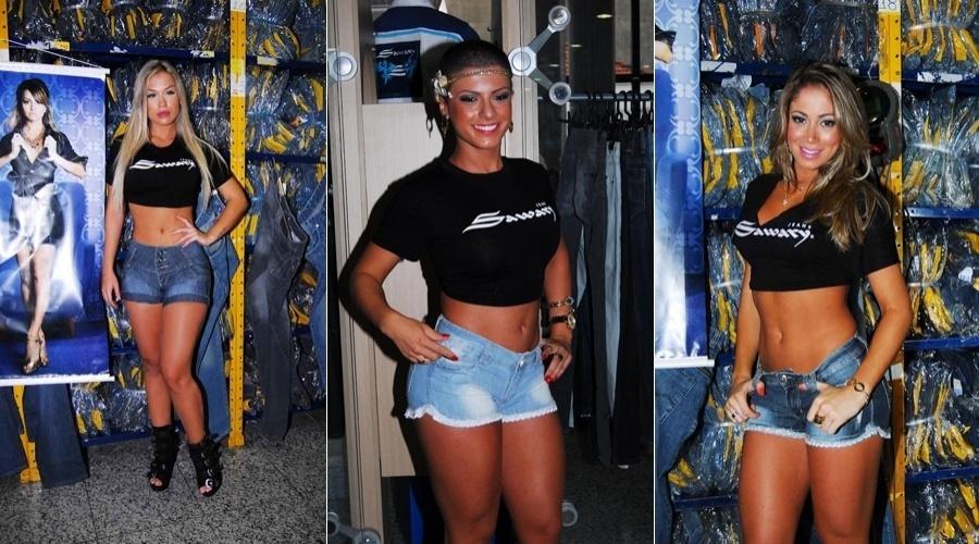 As novas panicats Carol Belli, Babi Rossi e Carol Narizinho prestigiam evento de moda em São Paulo (8/5/12)
