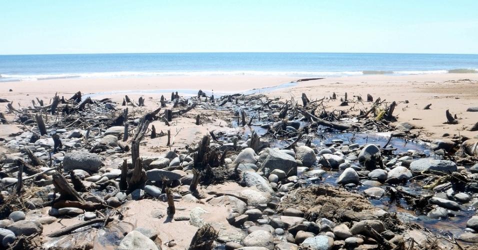 Praia nas Ilhas Madalenas, um arquipélago do oceano Atlântico situado no golfo de São Lourenço, no Quebec.