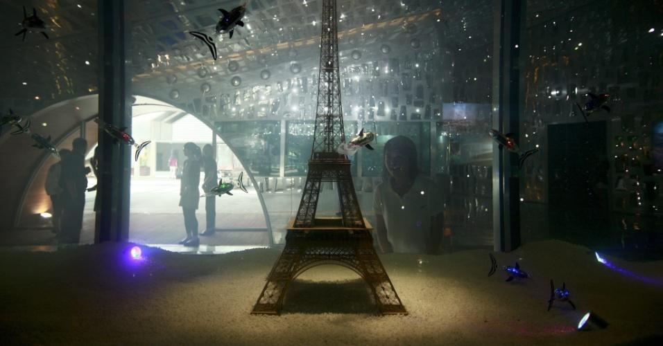 9.mai.2012 - Mulher visita pavilhão da França na Exposição Internacional de Yeosu, na Coreia do Sul