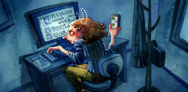Bisbilhotar redes sociais e pertences do parceiro afundam o relacionamento. Saiba como driblar a traição - Julia Bax/UOL