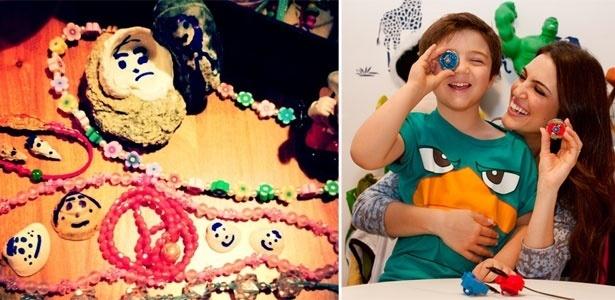 Filha de Fernanda Takai cria colares e bonecos de concha (à dir.) e filho de Chris Flores adora o pião Beyblade