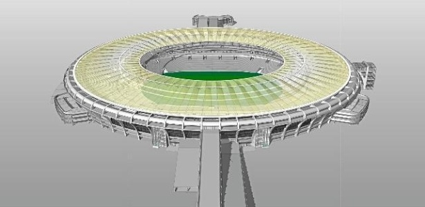 Imagem computadorizada de como ficará o Maracanã após a reforma