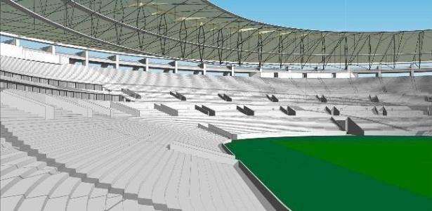 Imagem computadorizada de como será o interior do Maracanã após a conclusão da reforma
