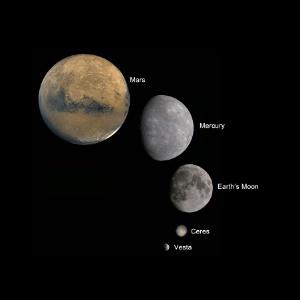 Composição mostra Marte, Mercúrio, Lua e o planeta-anão Ceres comparados ao asteroide Vesta