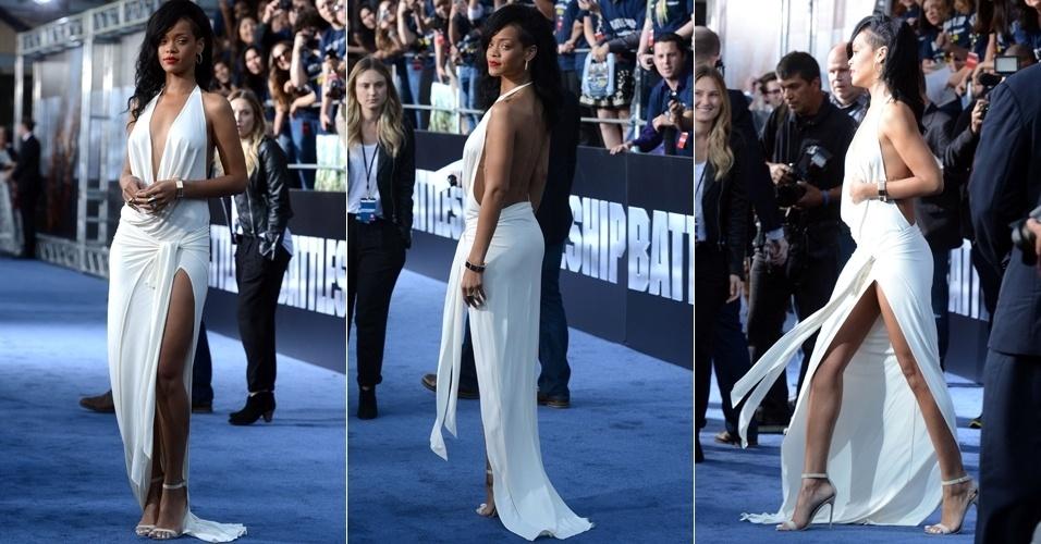 """Com vestido decotado e com fenda lateral, Rihanna roubou a cena na pré-estreia de """"Battleship - A Batalha dos Mares"""", em Los Angeles, na Califórnia (10/5/12)"""