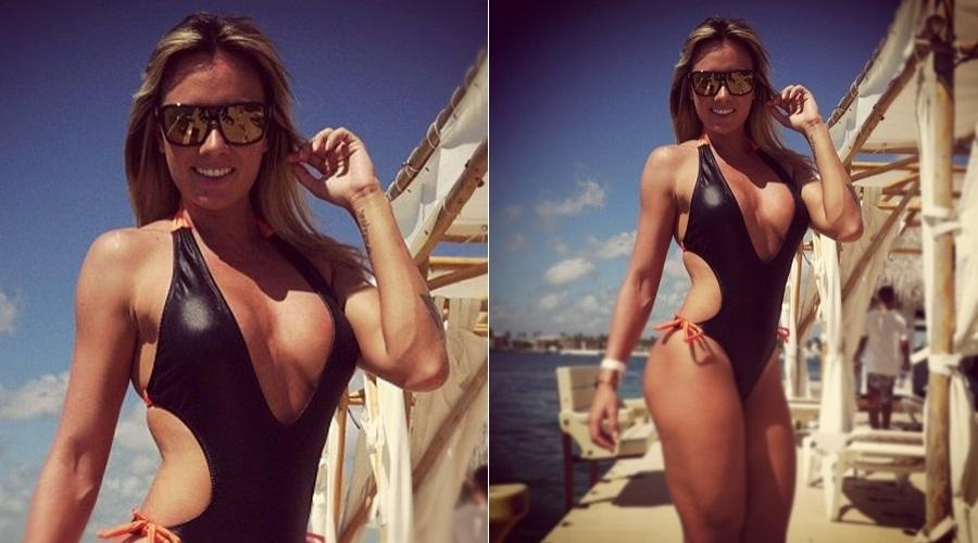 """De maiô, Juju Salimeni curte praia em Punta Cana, na República Dominicana (11/5/12). A repórter do """"Legendários"""" divulgou a imagem por meio de sua página do Twitter"""