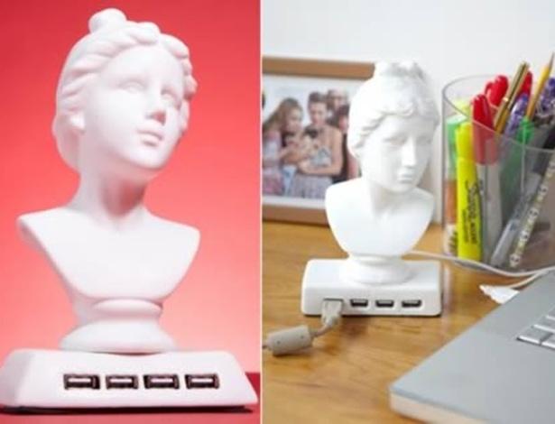 Hub USB inspirado da deusa Afrodite oferece quatro portas adicionais ao computador e é bem chamativo. Para manuseá-lo, o comprador deve tomar cuidado, pois ele é feito de cerâmica