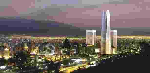Imagem do edifício Gran Torre Costaneram em Santiago, no Chile, que será o mais alto da América Latina - BBC