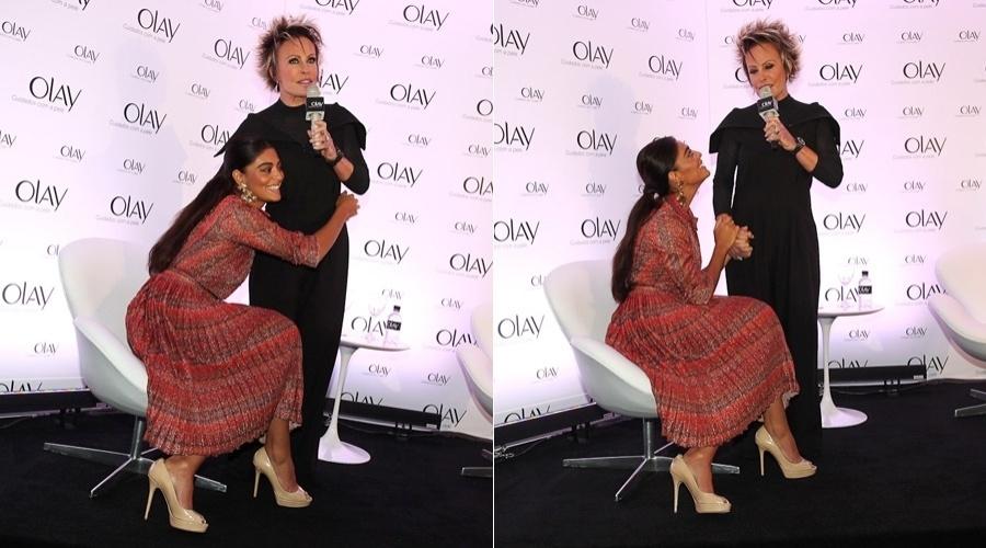 Juliana Paes e Ana Maria Braga participam de ação promocional de marca de cosméticos em hotel localizados nos Jardins, em São Paulo (11/5/12)