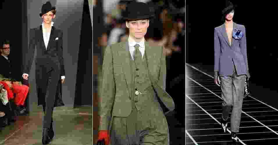 Looks de Donna Karan, Ralph Lauren e Giorgio Armani desfilados para o Inverno 2012 - Getty Images