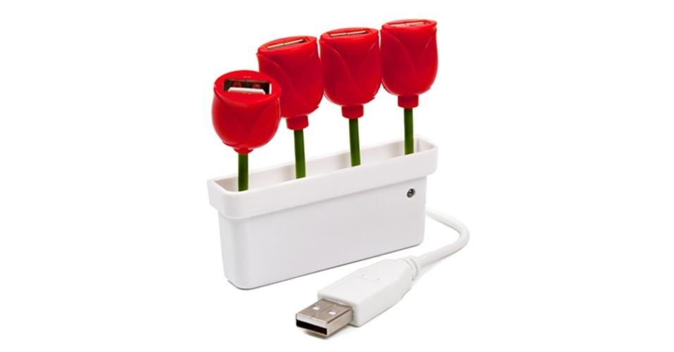 O USB Tulip Hub é um vaso de tulipas com quarto portas USB: cada uma das flores de plástico permite a conexão de um dispositivo USB
