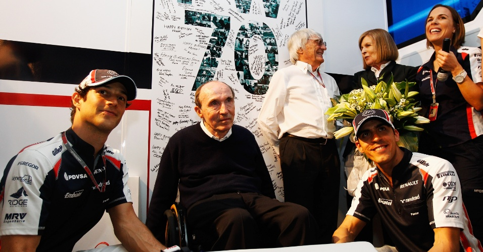 Bruno Senna, Frank Williams e Pastor Maldonado celebram 70 anos do chefe da escuderia