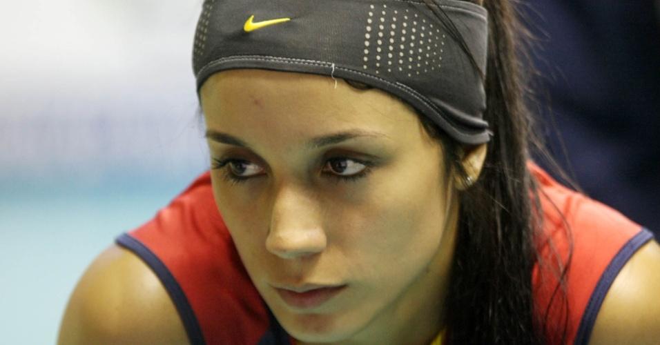 Catalina Charry, jogadora da seleção de vôlei da Colômbia, durante um jogo do Pré-Olímpico