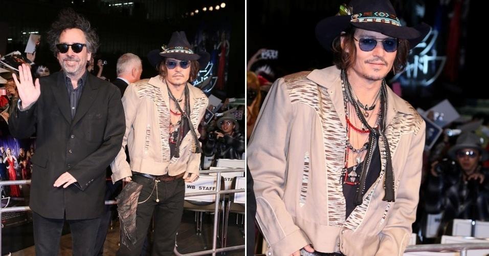 """Johnny Depp e Tim Burton vão a pré-estreia japonesa do filme """"Sombras da Noite"""", em Tóquio (12/5/12)"""