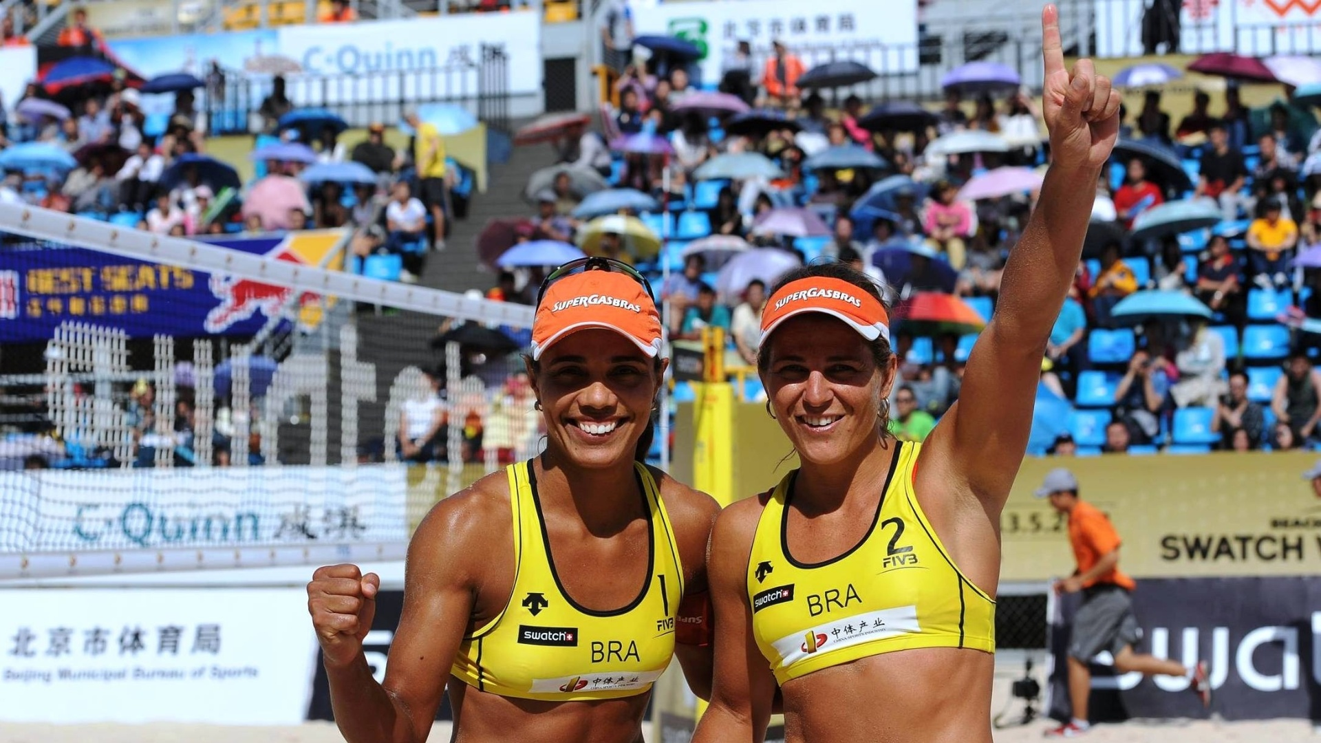 Juliana e Larissa comemoram vitória na etapa de Pequim do Circuito Mundial