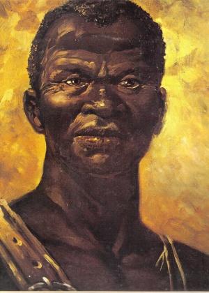 Reprodução de imagem, comum em livros de história, do líder negro Zumbi dos Palmares