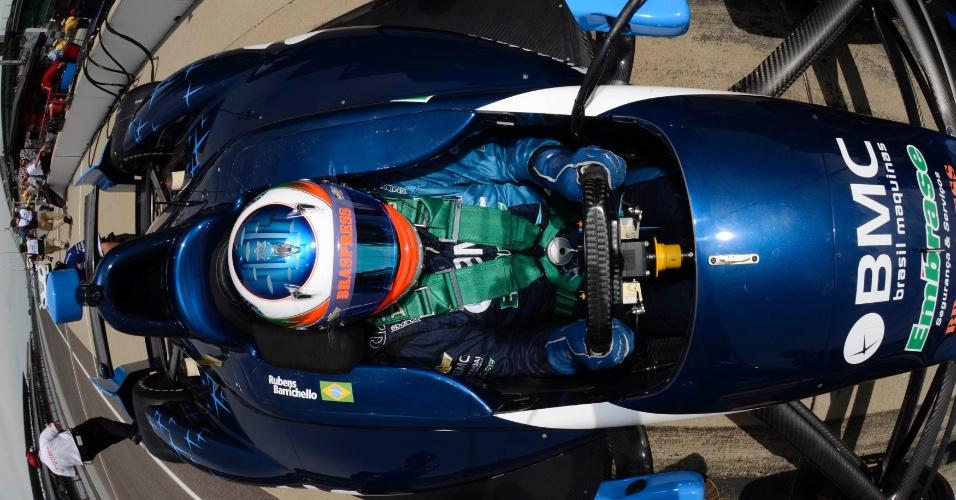 Rubens Barrichello, do Brasil, em treino para Indianápolis, nos Estados Unidos