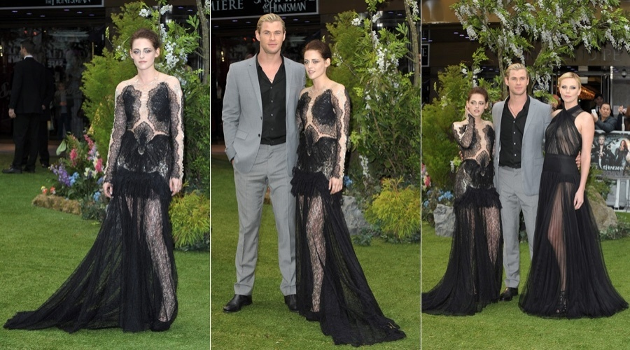"""Kristen Stewart, Chris Hemsworth e Charlize Theron prestigiam a pré-estreia do filme """" Branca de Neve e o Caçador"""" em Londre (14/5/12)"""