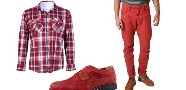 Uma maneira de combinar a cor vermelha é usar camisa xadrez com calça lisa, que é uma opção para a tradicional combinação com calça jeans  - Divulgação