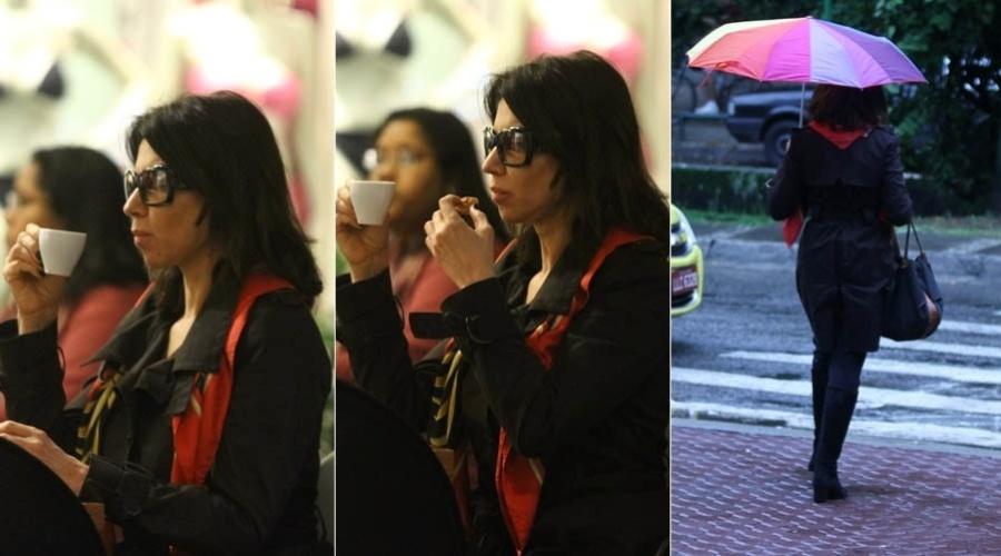 Cláudia Alencar toma café em shopping da zona sul do Rio de Janeiro (15/5/2012)