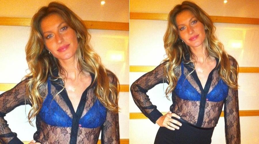 Gisele Bündchen mostra modelito que vai usar no lançamento de sua coleção de lingerie, em São Paulo (15/5/12)