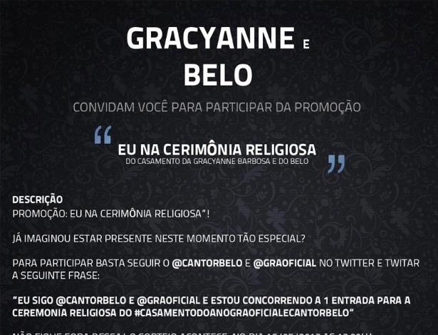 Promoção para levar fãs ao casamento de Belo e Gracyanne Barbosa (15/5/12)