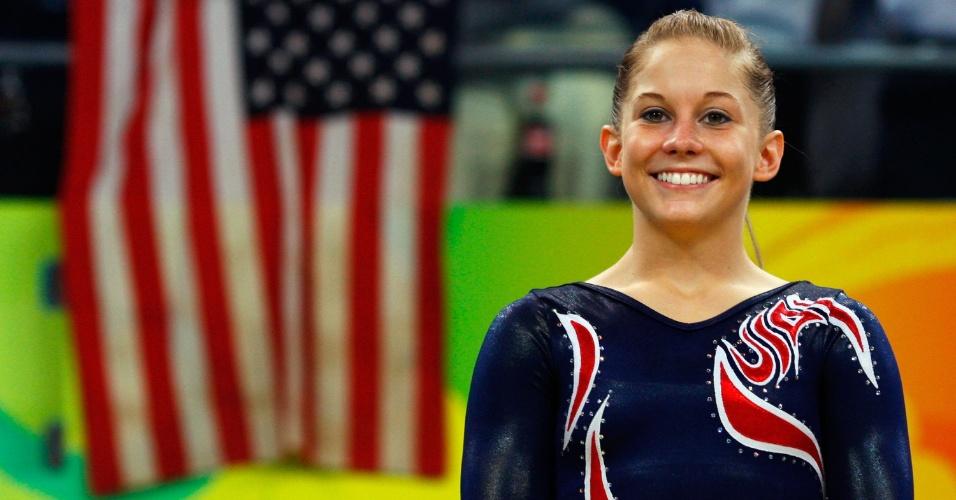 Shawn Johnson no pódio dos Jogos Olímpicos de 2008, quando ela ganhou quatro medalhas