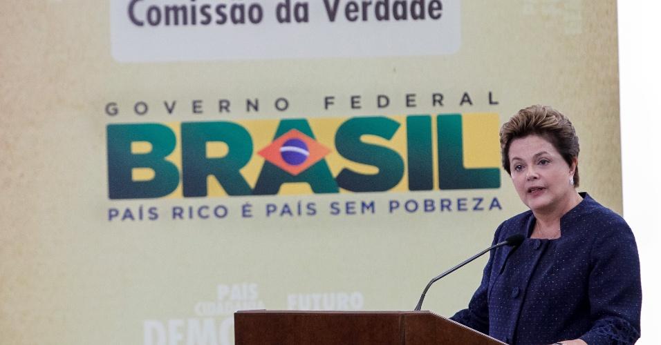 16.maio. 2012 - Presidente Dilma Rousseff faz discurso em cerimônia de Instalação da Comissão Nacional da Verdade, no Palácio do Planalto, em Brasília. A comissão, segundo Dilma, não abriga ressentimento, ódio nem perdão