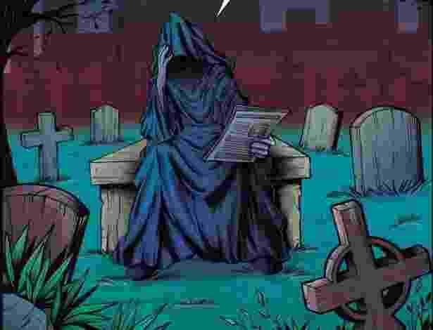 A arte-finalista Thaty Monteiro criou uma versão preocupada da Dona Morte - Reprodução/Facebook