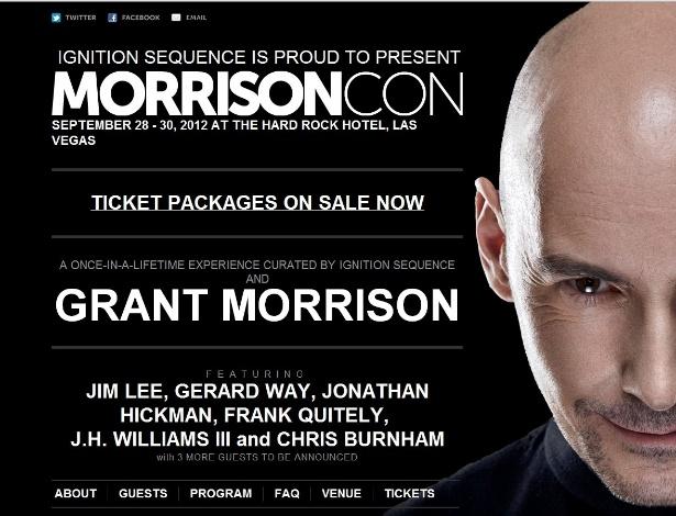 Ao contrário de outras convenções de quadrinhos, a MorrisonCon só te a foto de seu criador na página do evento - Reprodução