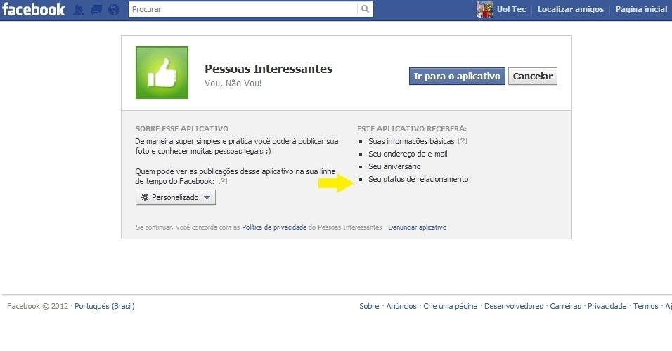 Pessoas Interessantes, aplicativo do Facebook