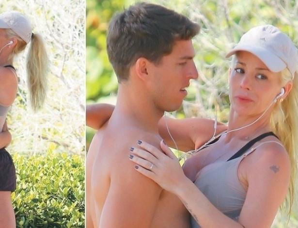 Mai. 2012 - Danielle Winits é flagrada pela revista Contigo com novo namorado, o jogador Amaury Nunes