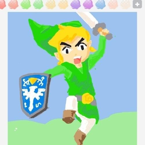 """Geralmente usa-se uma seta para especificar um objeto, mas aqui o usuário se valeu de Link para tentar transmitir a palavra """"shield"""" (escudo, em inglês)"""