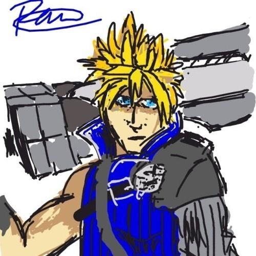 """Para transmitir a palavra """"cloud"""" (nuvem), esse usuário desenhou o protagonista do RPG """"Final Fantasy VII"""""""