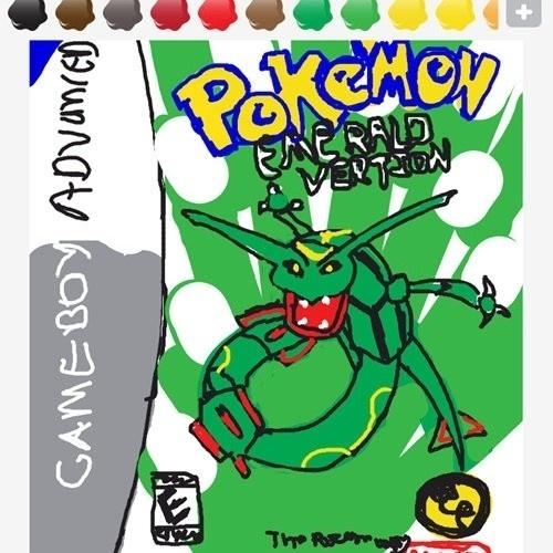 """Para transmitir o termo """"emerald"""", esse usuário desenhou a capa de uma versão de """"Pokémon"""" para Gameboy Advance"""