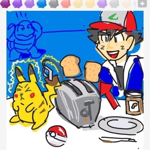 """Pikachu alimenta uma torradeira nesse desenho que quer transmitir a palavra """"toast"""" (torrada)"""