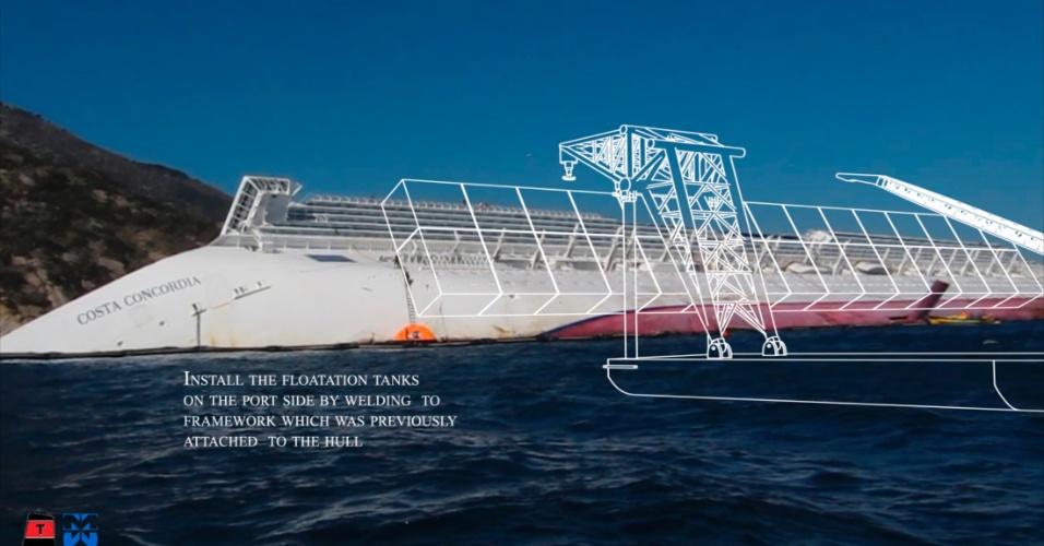 18.mai.2012 - A operadora do navio Costa Concordia e o consórcio Titan-Micoperi apresentaram seu projeto de remoção do navio de cruzeiro Costa Concordia parcialmente submerso desde janeiro na costa da Itália, após acidente