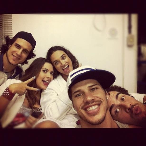 Da esquerda para a direita, Emiliano D'Avila, Fabíula Nascimento, Debora Nascimento, José Loreto e Thiago Martins (17/5/2012)