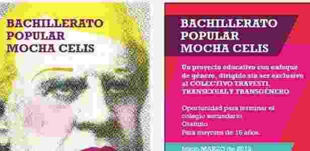 Panfleto da escola argentina Mocha Celis, que é voltada para travestis - Reprodução