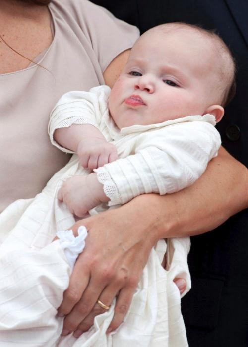 20.mai.2012 - A princesinha Athena Marguerite Françoise Marie, filha da princesa Maria, é batizada neste deomingo (20), na igreja de Mogeltonder, na Dinamarca