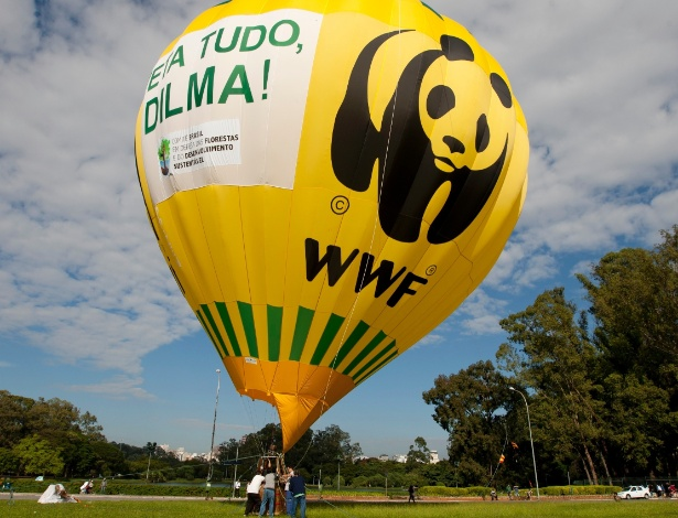 20.mai.2012 - Cerca de 1,5 mil pessoas se reuniram, na manhã deste domingo, em frente ao Monumento das Bandeiras, nas proximidades do Parque do Ibirapuera, na zona sul de São Paulo, em um ato público a favor do veto ao novo Código Florestal