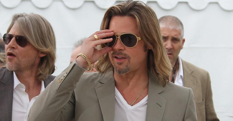 O ator Brad Pitt durante apresentação do filme