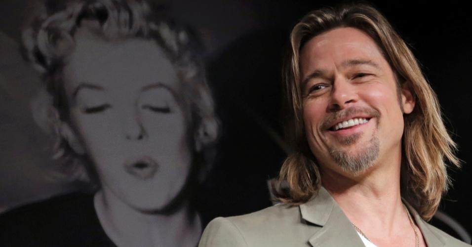 O ator Brad Pitt durante conferência sobre o filme
