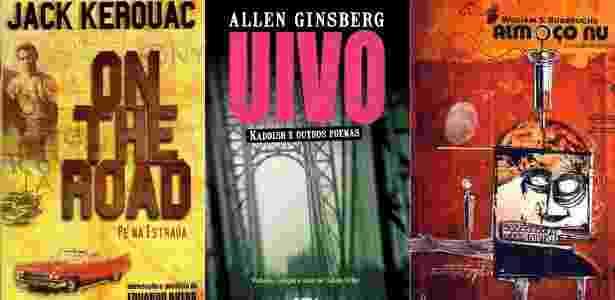 """Capas das edições brasileiras de """"On The Road"""", """"Uivo"""" e """"Almoço Nu"""" - Fotomontagem/UOL/Divulgação"""