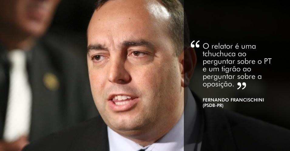 """""""O relator é uma tchuchuca ao perguntar sobre o PT e um tigrão ao perguntar sobre a oposição"""", disse o deputado Fernando Francischini (PSDB-PR) ao relator da CPI, deputado Odair Cunha (PT-MG)"""